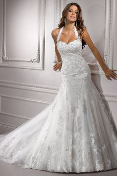 Mermaid Halter wedding dress #perfect #white #wedding #dress