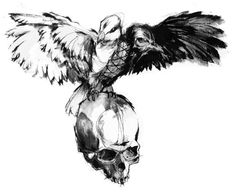 Crow and Skull Tattoos Ideas Wolf Tattoo Design, Skull Tattoo Design, Skull Tattoos, Tattoo Designs, Crow Tattoos, Wing Tattoos, Crows Drawing, Dove Drawing, White Dove Tattoos