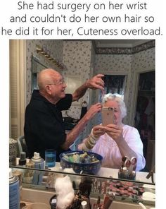 She had surgery on her wrist and couldn't do her own hair so he did it for her. Cuteness overload.