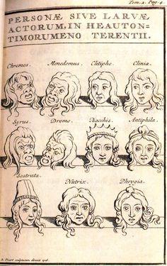 Ilustración de Les comédies de Térence avec la traduction et les remarques de Madame Dacier, Vol. I, Rotterdam, G. Fritsch, 1717, entre pp. 4-5, (máscaras del Heautontimorumenos).