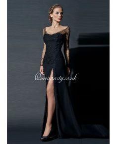Black Sheer Long Sleeves Long Prom Dress With Slit