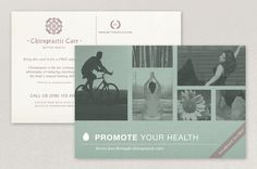 Chiropractic Practice Postcard Template - The gentle color palette and uplifting photos of this postcard are perfect for a chiropractic practice or other physical therapy-oriented business. The classic graphics provide an established, long-lasting image for a practice.