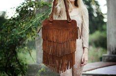 leather fringe boho/hippie bag