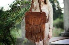 Fringe Brown Leather Bag