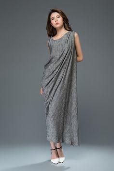 Gray linen dress women's dress C923 by YL1dress on Etsy