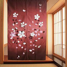 Japanese Sakura Romance Pattern Noren Style Doorway Curtain Bedroom Decoration…