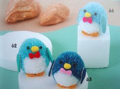Cute Pompon Seal and Penguin Cute Kawaii Animal by DollyAndPaws