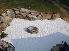 beach sand patio with fire pit Sand Backyard, Sand Patio, Backyard Beach, Fire Pit Backyard, Sand Fire Pits, Fire Pit Area, Landscaping Sand, Steinhart, Garden Fire Pit