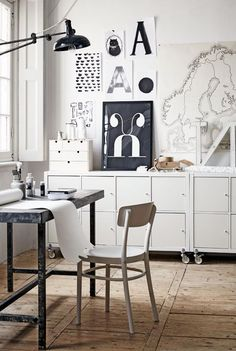 Modern black and white workspace interior