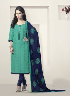 Green Churidar Suit Wholesale Collection With Embroidered Work