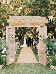 homemade wedding arches with doors | arch with scripture/ProjectWedding