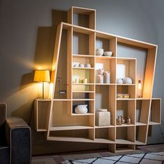 Modular shelf / contemporary / oak FRISCO by Hugues Weill Drugeot Labo