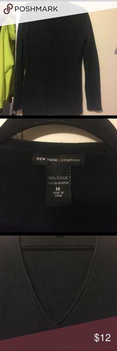 Black sweater New York & Company black v-neck sweater. Gently worn   LOTS OF LOVE ❤️ STILL AVAILABLE!!! New York & Company Sweaters V-Necks