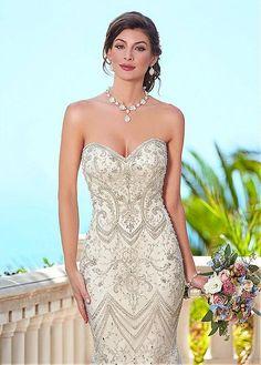 Elegant Tulle Sweetheart Neckline Mermaid Wedding Dresses With Embroidery & Beadings