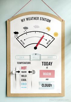 Printable weather activity. Lovely for children. Let the learning begin! http://www.mrprintables.com/my-weather-station.html#