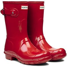 Amazon.com: Womens Hunter Original Short Gloss Wellies Festival Snow... ($120) ❤ liked on Polyvore featuring shoes, boots, wellies boots, hunter shoes, shiny shoes, hunter boots and short rain boots