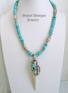 Schaef Designs Deer Antler tine, Pilot Mountain turquoise & sterling silver feathers Southwestern Pendant | New Mexico