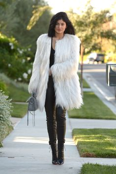 Kylie Jenner Looks | Celebrity Street Style | In the @GUESS Glam Faux-Fur Coat + @marcianostyle Coy Leather Leggings