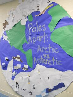 I talked with each first grade class about the differences in the North and South Poles and read the book: Poles Apart. Each student then made an animal from the north or south pole to add to our world. Winter Fun, Winter Theme, Arctic Habitat, Artic Animals, Penguins And Polar Bears, Kindergarten Science, Classroom Displays, Winter Activities, Fun Crafts