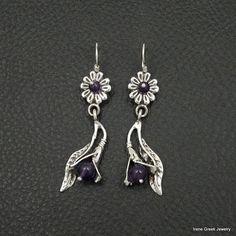 Natural Amethyst Earrings Flower Style 925 Sterling Silver