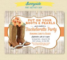 Western / Fall / Autumn - Country Girl Bridal Shower / Bacheloette Party Invitation