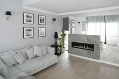 mirror,mirror as decor Living Room With Fireplace, Living Room Grey, Settee, Interior Inspiration, Sweet Home, Gallery Wall, Couch, Flooring, Table