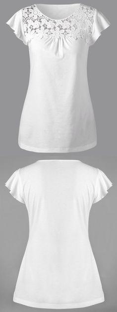 $12.61 Lace Insert Cutwork T-Shirt - White