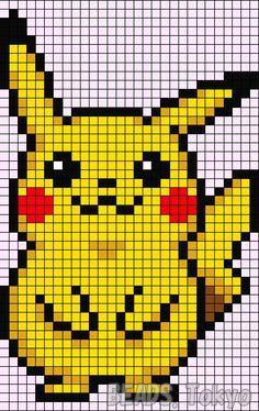 Pikachu - Pokemon perler bead pattern by BEADS. Pikachu Hama Beads, Cross Stitch Designs, Cross Stitch Patterns, Pokemon Cross Stitch, Modele Pixel Art, Pixel Art Grid, Pixel Drawing, Pixel Art Templates, Pix Art