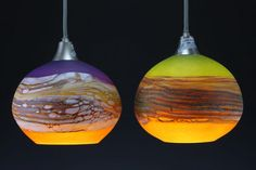 Strata Round Pendants lighting #lighting #handblown #glassart