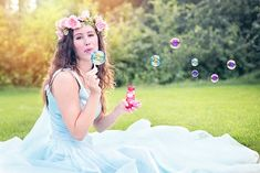 Woman, Blowing Bubbles, Young