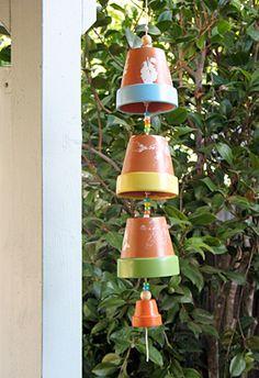 Bloemen-pot-wind-gong voor op het terras! Leuk om te maken :-)