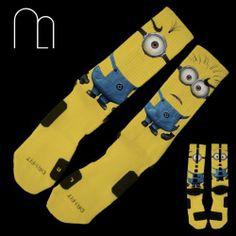 Ahhhhh! Custom Nike Elite Socks Minions Despicable Me Memo Apparel | eBay
