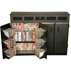 Features:  -Double wide size.  -Convenient top side access.  -Locking top panel.  -Elegant styling.  -Rugged & sturdy.  -The top load locks providing secure storage for expensive DVDs, CDs, video tape