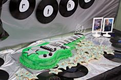 Boy's Rock Star Guitar Birthday Cake - www.spaceshipsandlaserbeams.com
