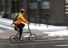 Dashing through the snow Dashing Through The Snow, Brompton, Cycling, Bicycle, Photos, Ideas, Women, Bicycles, Bicycling