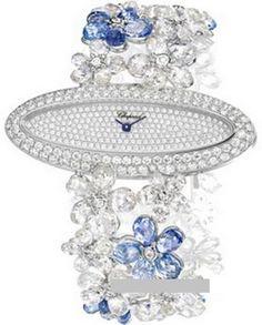 Chopard Delicate Sapphire and Diamond Watch Classic Racing High Jewellery - швейцарские женские часы - браслет - наручные, золотые с бриллиантами и сапфирами, белые, голубые Chopard, Ladies Watches, Sapphire, Delicate, Ceiling Lights, Diamond, Classic, Women's Party Watches, Women's Watches