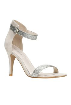Brides.com: 31 Sparkly Wedding Shoes Platform bootie with crystal ankle strap, $148, White by Vera Wang available at David's BridalPhoto: Courtesy of David's Bridal