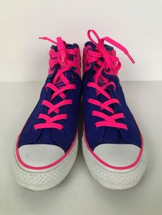 7ddd9d96d67c Converse Girls Youth 4.5 High Top Sneakers Hot Pink Blue  Converse   Athletic Converse Girls. eBay
