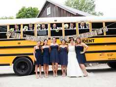 We love the nostalgic fun of this wedding transportation! Wedding Pics, Wedding Bells, Wedding Ceremony, Our Wedding, Dream Wedding, Wedding Things, Wedding Venues, Wedding Transportation, Busse