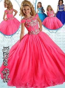 2014 Pink Ball Gown Little Girl Pageant Dress with Scoop Beading