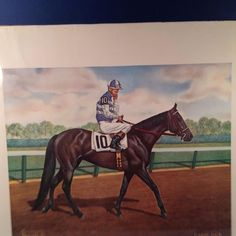 """Allen F Brewer Jr.'s Signed Equine Print """"CARRY BACK"""" 1961 Horse Racing Great! 