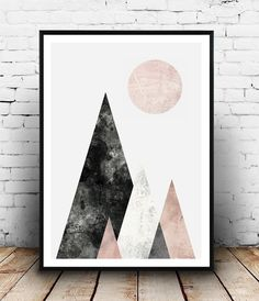 Scandinavian print, Mid century modern, Watercolor art, Abstract print, Pink gray art, Geometric print, Mountains print, home wall decor Dimensions