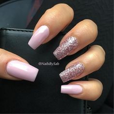 pale pink and rose gold glitter nails