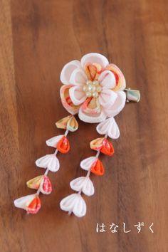 薄ピンク×オレンジ古典文様 下がり付きクリップ髪飾り お祝いに