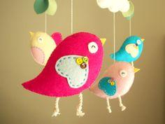 "Kinderbett mobile, Vogel mobile, mobile, fühlte Kindergarten mobile, baby mobile ""Bird - Rosa"" by Feltnjoy on Etsy"