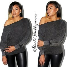 Get our super cute and comfy Grey off the shoulder sweater available now  SteelePretty.com