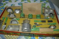 My Vintage Toy Kitchens, Large A Bake Set, sifter, cookie cutters, canisters, measuring board + more $950.00