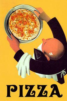 Food Pizza Waiter Restaurant Bar Italian by HeritagePosters