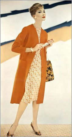 Jessica Ford in orange chemise coat and orange and white printed chemise dress of knit jersey, coat from Vogue Pattern 9438, dress from Vogue Pattern 9429, Newton Elkin shoes, MM handbag, photo by Roger Prigent, Vogue, February 15, 1958
