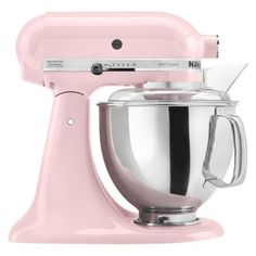 KitchenAid Artisan 5 Qt  Stand Mixer in pink or white with fuschia decals